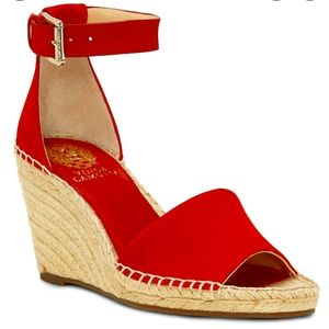 VINCE CAMUTO Ankle Strap Wedge Suede Espadrilles